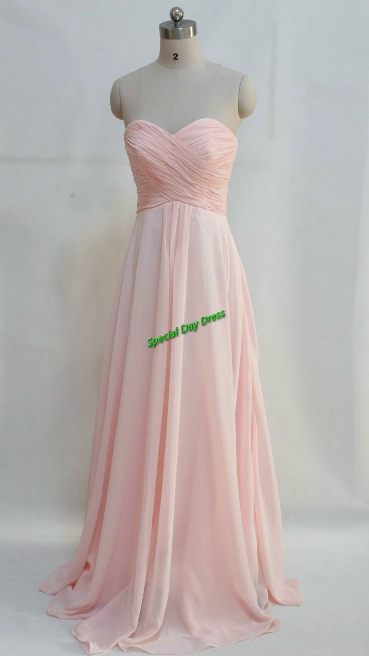 Cheap strapless long pale pink bridesmaid dress simple for Simple pink wedding dress