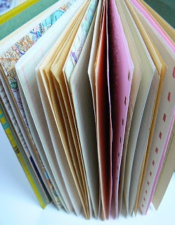 Now, recycling old paper with various colours, weights and textures into a sketch book - that's a better idea!     Retro French Book Repurposed into a Spiral Bound Journal or Sketchbook : Traci Bunkers