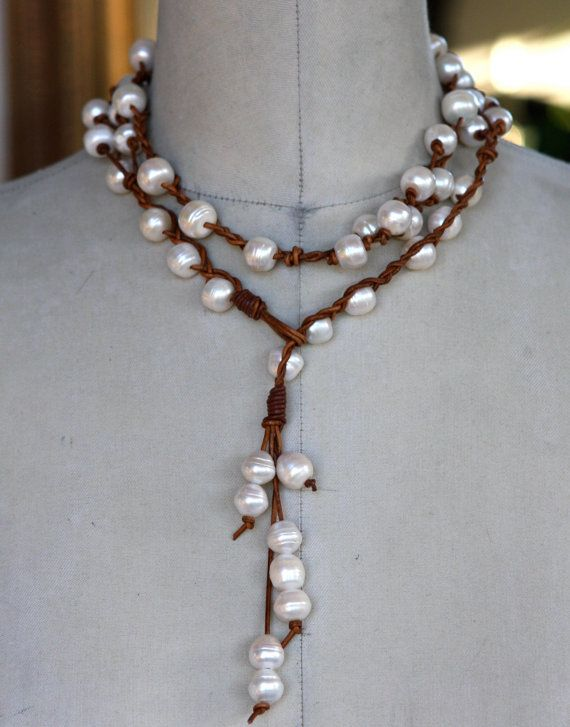 how to make a leather and pearl lariat necklace