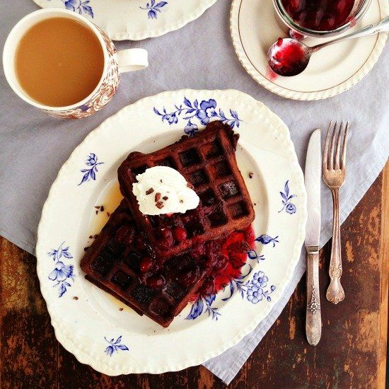 Dark Chocolate Waffles - your breakfast table will never be the same.