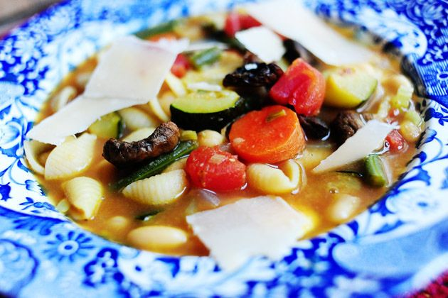 Roasted vegetable Minestrone soup - Used organic vegetable broth ...