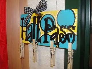 hall passes: clothes pins, they just clip it on their shirt=no germy bathroom passes!