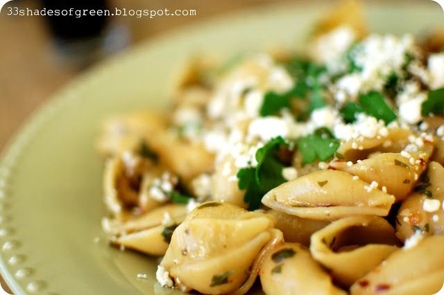 ... Shades of Green: Tasty Tuesdays: Shells with Olives & Ricotta Salata