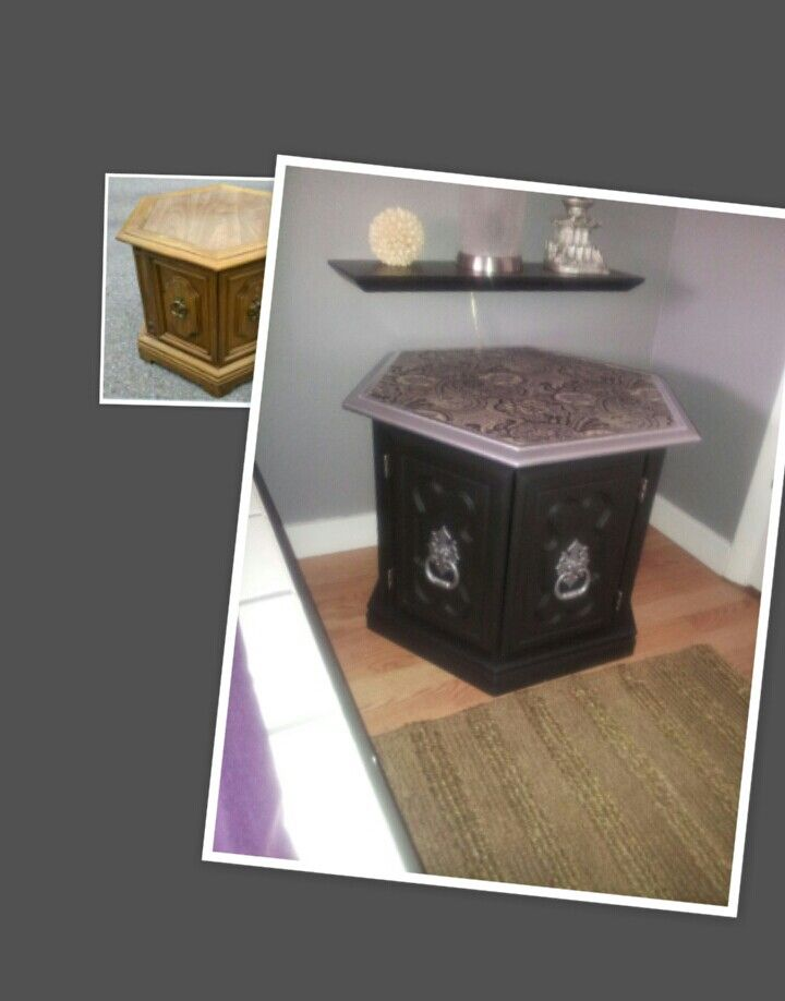Chalk paint and decoupage hexagon end table redo.