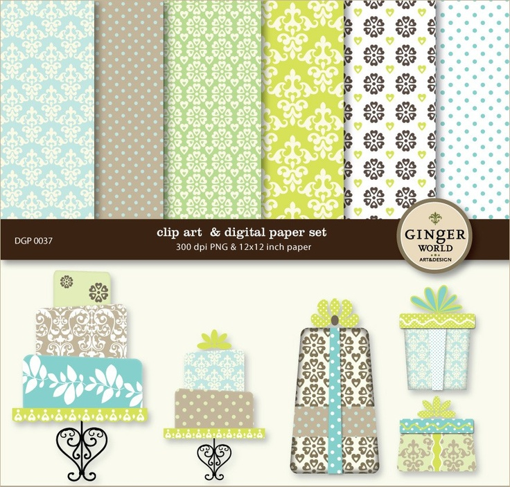 Party Cake Gift boxes clip art Digital Paper Pack by GingerWorld, $5.95