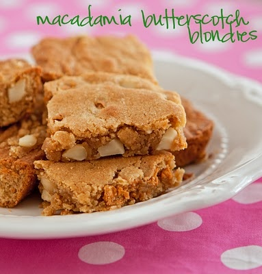 Macadamia Butterscotch Blondies | Snack-a-licious! | Pinterest