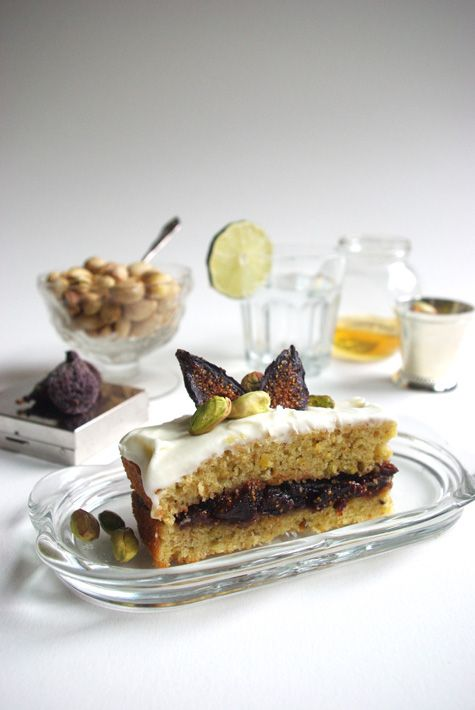 Pistachio olive oil cake with fig compote filling and cream cheese ...