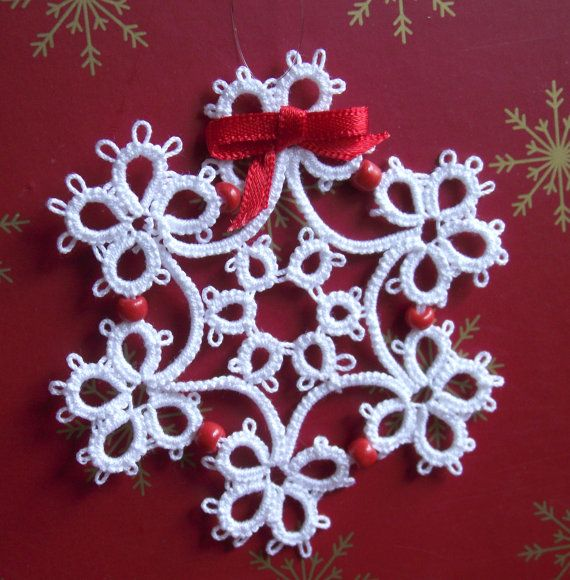 Tatted White Snowflake, Glass Beads , Christmas Decoration
