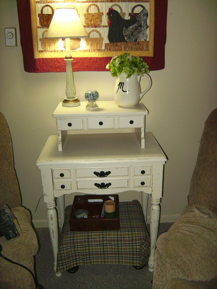 repurpose an old sewing machine cabinet for a side table