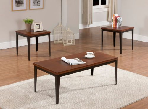 PC Metal Frame With Cherry Finish Wood Top Coffee Table 2 End Tables
