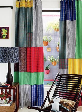Color Block Curtain Panels DIY Red Curtains