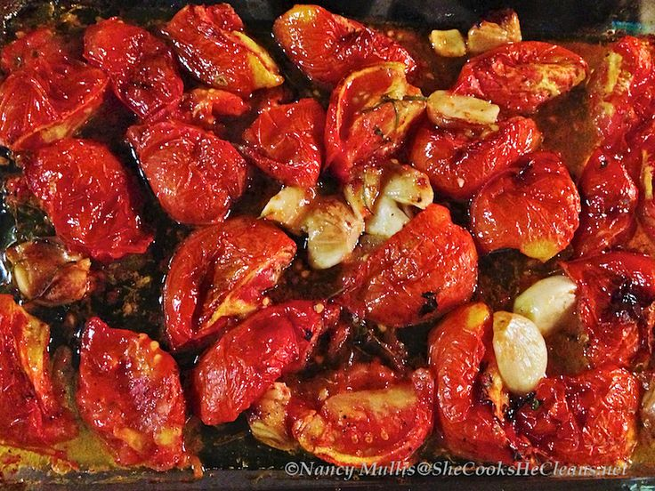 Oven-roasted Tomatoes and Garlic | Paleo recipes | Pinterest