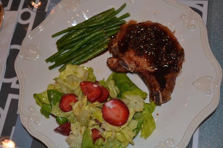 pork chops with a sweet and sour glaze.....yummmmy!