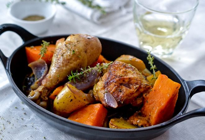 ... like this: lemon thyme chicken , lemon thyme and roasted pumpkin