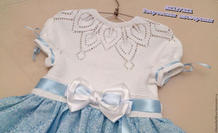 Комбинированное платье вязание и ткань для девочек