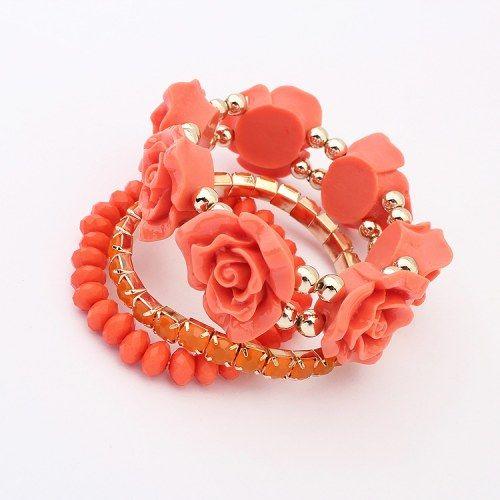 Sweet Rose Orange Multilayer Bracelet | Indian Jewellery by Craftsvil ...