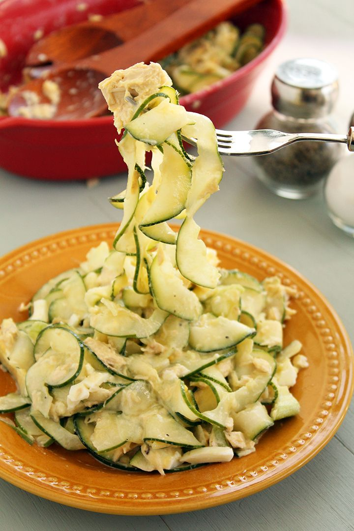 "Tuna, Celery and Egg "" NO"" Pasta Salad (Cucumber & Zucchini ..."