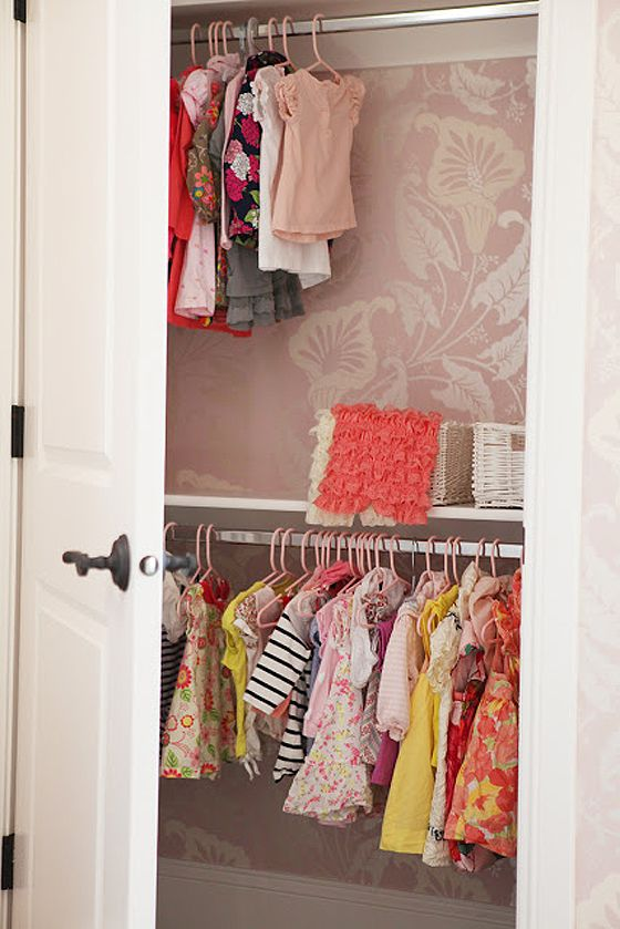 Wallpapered Closet in Nursery