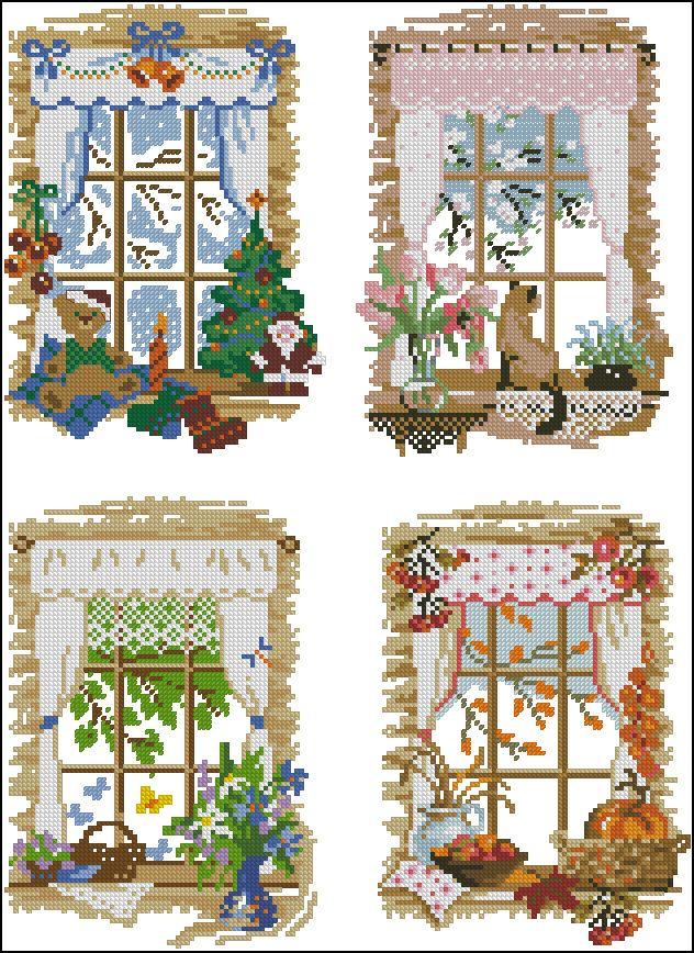 Окно схема вышивания крестом