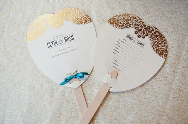 gold lace wedding programme fan  // luxe teal & gold // fiona kelly photography // linen & silk weddings