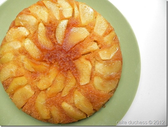 Warm Apple-Cornmeal Upside-Down Cake from @Lora