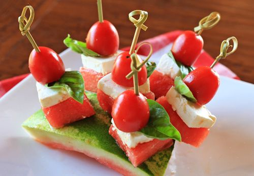 Watermelon Tomato & Feta Cheese Skewers   Cold Appetizers   Pinterest