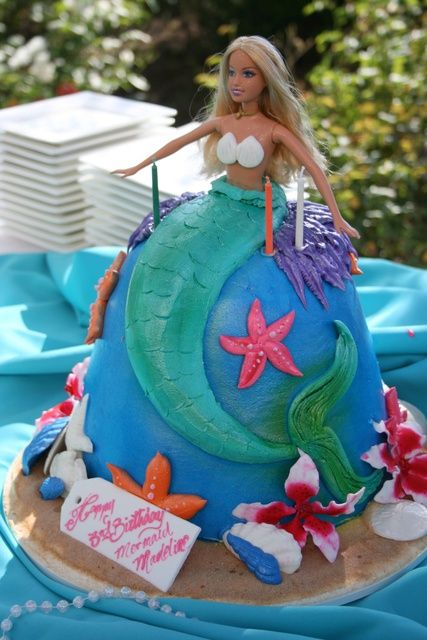 mermaid barbie cake Mallorys birthday party Pinterest