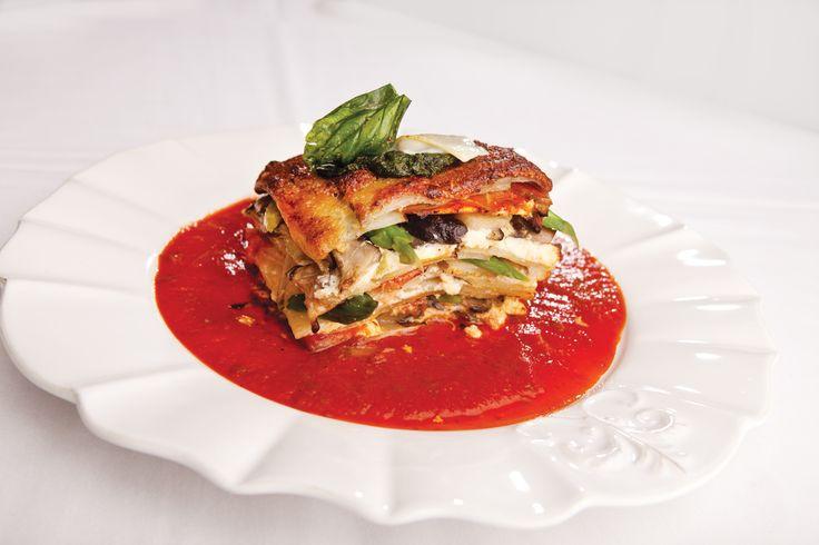 """Wild Mushroom Potato """"Lasagna"""" with Heirloom Tomatoes, Lemon Ricott..."""