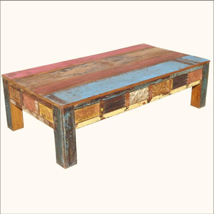 Old Reclaimed Wood Rustic Hand Carved Distressed Painted Coffee Table