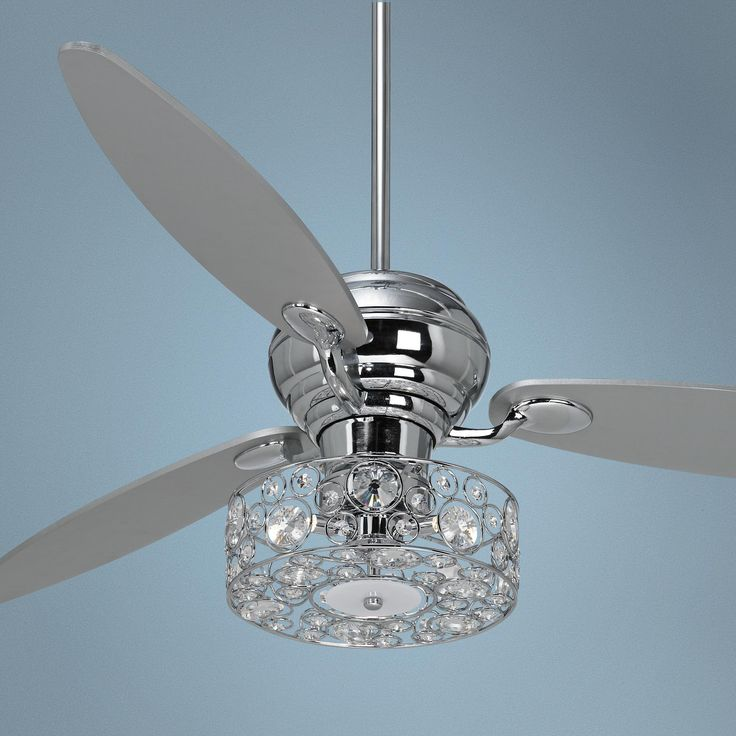 "60"" Spyder Chrome Ceiling Fan with Crystal Discs Light Kit -"