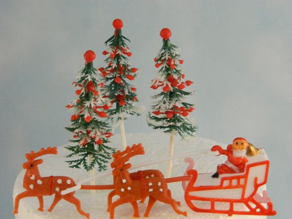 Santa with reindeer and christmas trees cake topper christmas topper