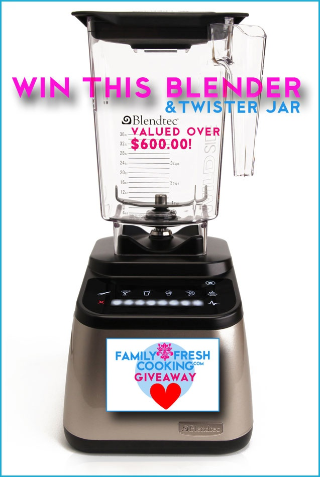 Win a FABULOUS Blendtec Designer Series Blender with WildSide + Twister Jars! Worth OVER SIX HUNDRED $$$ :) From FamilyFreshCooking.com  Great for smoothies, shakes, ice cream, coffee grinding, soups & so much more!