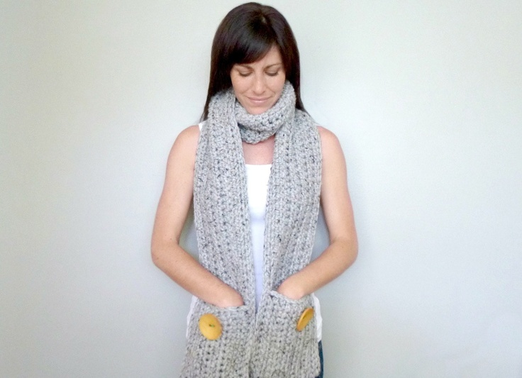 INSTANT DOWNLOAD Pocket Scarf CROCHET pattern chunky ...