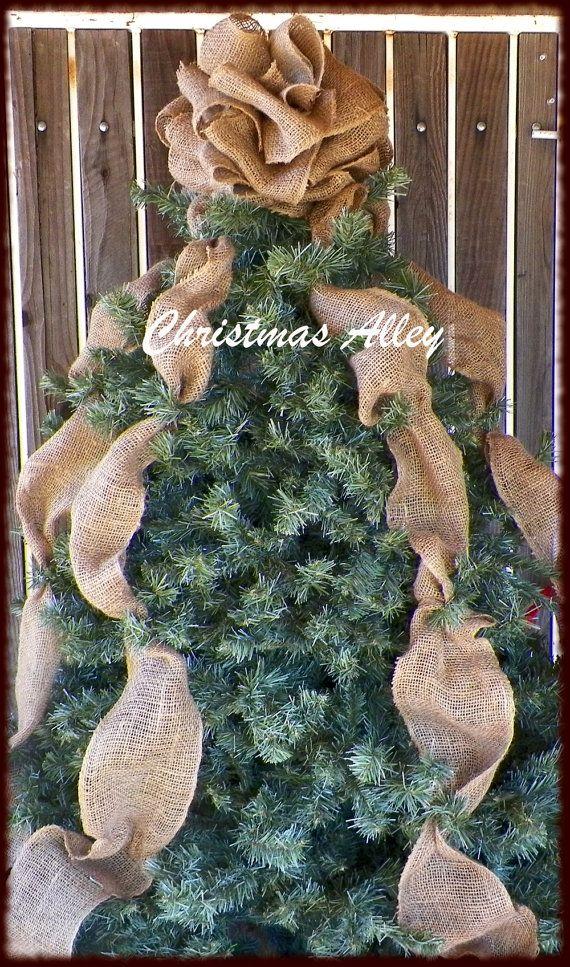 Christmas Tree Topper Burlap Tree Topper Bow Topper
