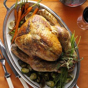 Herb-Roasted Turkey Recipe from Taste of Home -- Rubbed with garden ...