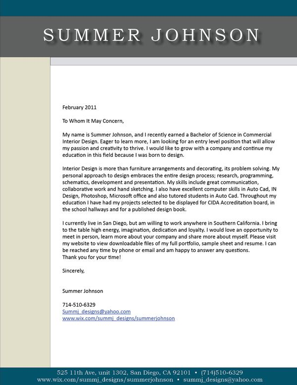academic cover letter
