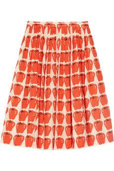 Apple-print pleated cotton skirt