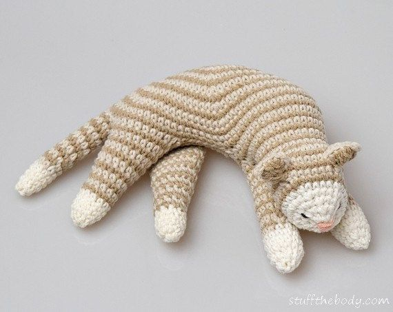 Crochet Patterns Of Cats : Sleepy Cat Crochet Pattern, Cat Amigurumi Pattern, home decor pattern ...