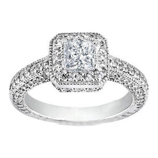 00CT Halo Round Diamond Engagement Ring Round Brilliant Cut 14 KT ...