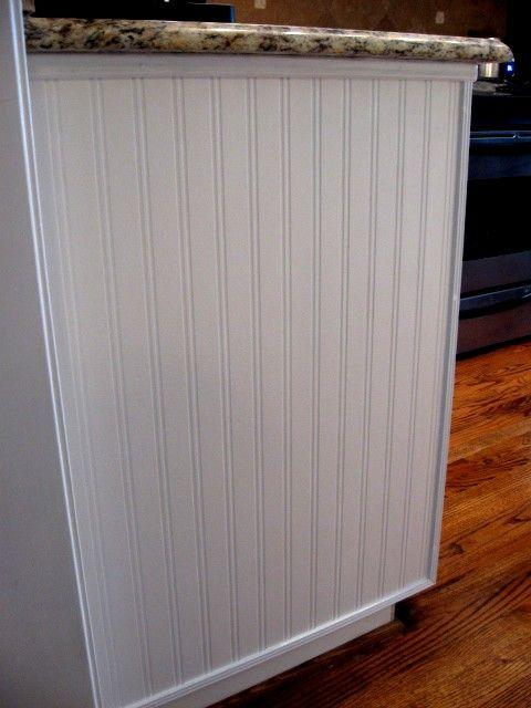 beadboard wallpaper on end of cabinet diy pinterest
