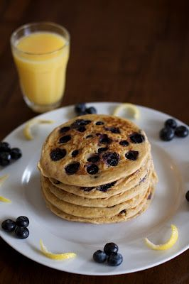 Whole Wheat Blueberry Lemon Yogurt Pancakes-- pass us a fork!