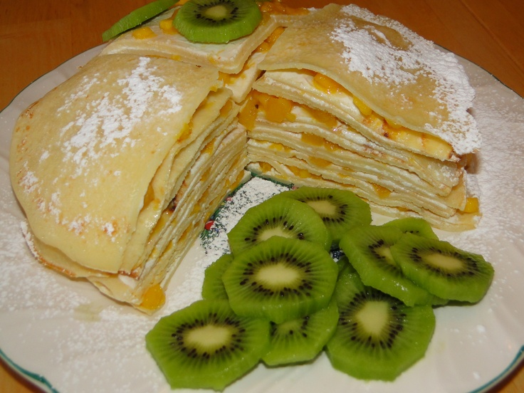 crepes layered fresh mango amp cream cheese and with kiwi on the side