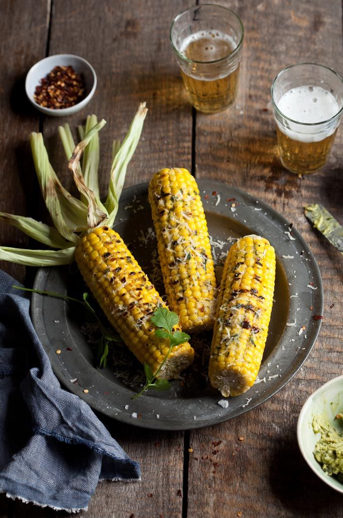Grilled corn on the cob with cilantro pesto, chilli and parmesan ...