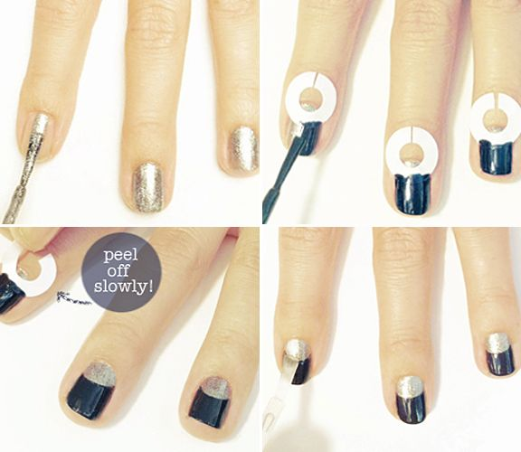A HALF-MOON MANICURE   1. Apply 1 to 2 coats of polish  to your whole nail. Let the polish dry for at least 30 minutes. TIP: It is important your nails are dry before placing the reinforcement stickers  2.place a reinforcement sticker on each nail. Cutting a slit in each sticker will allow the stickers lay more evenly on each nail. Paint the top half or your nail.  3. Once that's dry, carefully pull the reinforcement stickers off each nail.  4. Finish with a clear top coat.