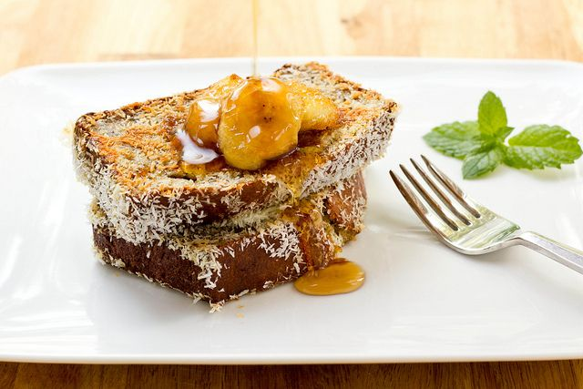 Coconut Crusted Banana Bread French Toast.