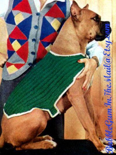 Free Patterns For Knitting Looms : Vintage 1952 Knit Large Dog Sweater Blanket Pattern Instant Digital D?