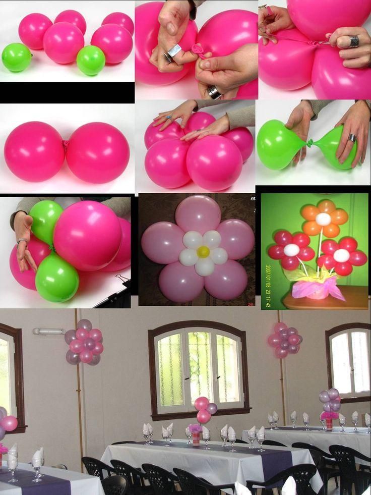 Como decorar un salon de fiestas con flores de globos for Ideas decoracion pared salon