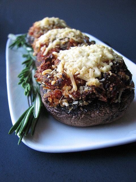 Sun-dried Tomato and Kalamata Olive Stuffed Mushrooms.
