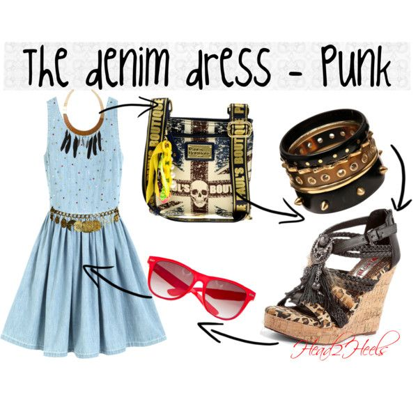 """The denim dress - punk"" by head2heels on Polyvore"