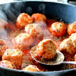 Turkey Meatballs in Spicy Tomato Basil sauce with Burrata cheese. A ...